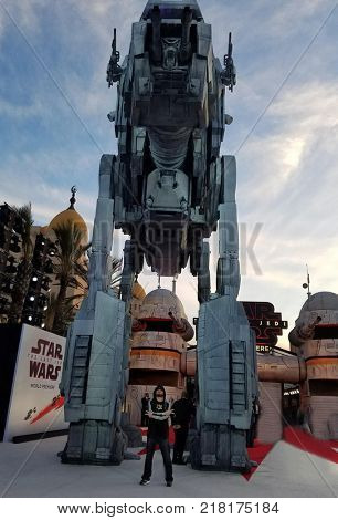 Tuukka Jantti standing in the front of All Terrain Armored Transport at the World premiere of 'Star Wars: The Last Jedi' held at the Shrine Auditorium in Los Angeles, USA on December 9, 2017.