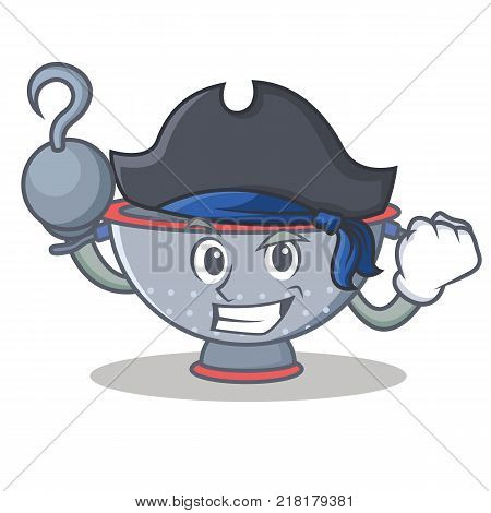 Pirate colander utensil character cartoon vector illustration