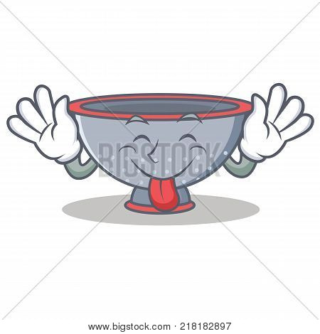 Tongue out colander utensil character cartoon vector illustration