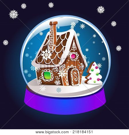 Magic Christmas snow globe vector illustration. Glass snowglobe gift with small house winter pine tree and falling snow inside.