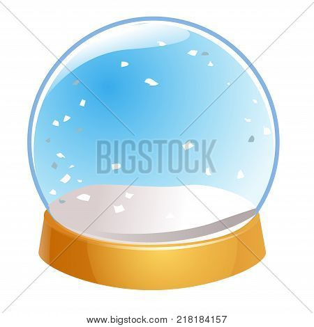 Snow globe empty isolated on white background. Christmas magic ball. Snowglobe vector illustration. Winter in glass ball crystal dome icon.
