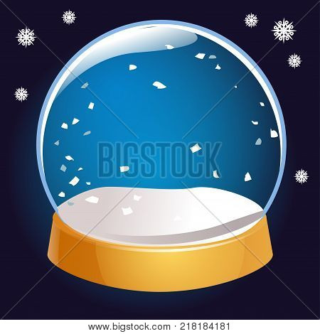 Snow globe empty isolated on black background. Christmas magic ball. Snowglobe vector illustration. Winter in glass ball crystal dome icon