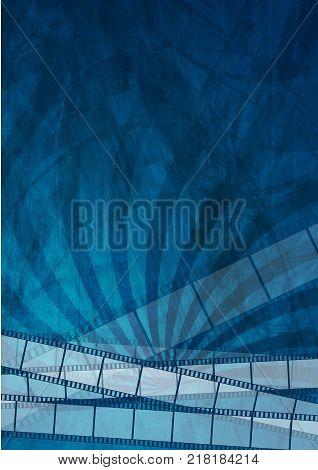 Grunge dark blue filmstrip abstract background. Vector design