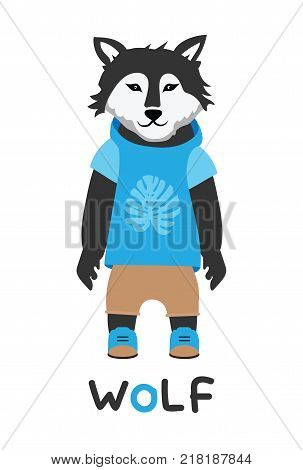 Young wolf in a jacket with a hood, art illustration. Card with fashion animals. Cartoon style