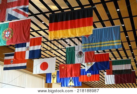 hanging flags of multi nations for design
