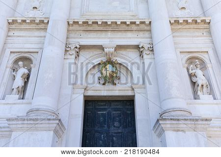 16th-century Benedictine San Giorgio Maggiore church facade Venice Italy. It is located on San Giorgio one of the islands of Venice