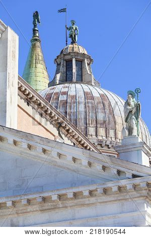 16th-century Benedictine San Giorgio Maggiore church view on the top Venice Italy.It is located on San Giorgio one of the islands of Venice