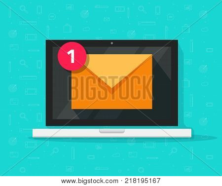 New email on laptop vector illustration, flat cartoon design of computer and e-mail envelope with notification received, idea of newsletter, electronic mail or letter on screen isolated icon