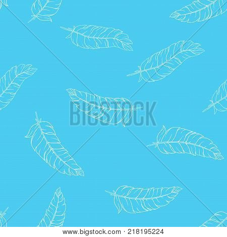 Vector seamless pattern with whire hand drawn feathers on blue background