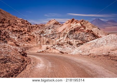 Road through the famous Valle the la Luna near San Pedro de Atacama in Chile