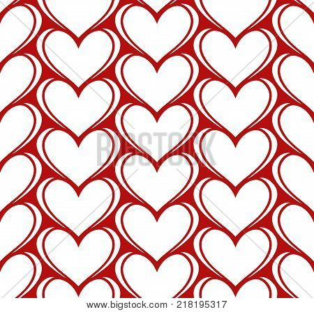 Vector seamless pattern with white hearts on red backdrop. Valentines day romantic background