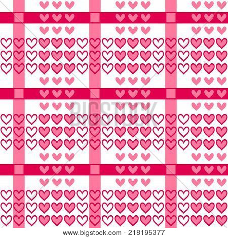 Vector seamless pattern with red hearts in tartan style. Valentines day romantic background