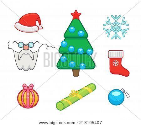 Vector icons set of christmas and new year symbols - gifts, christmas tree, sock, santa claus, snowflake.