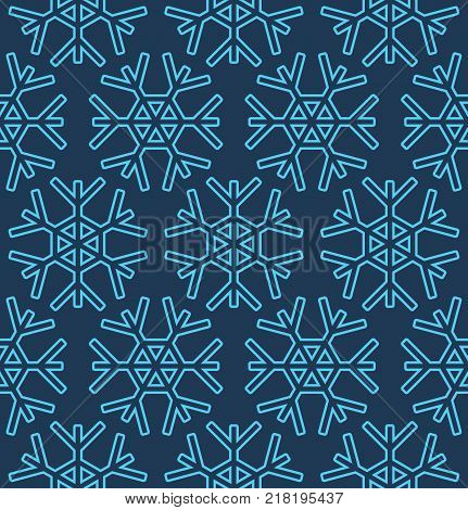 Vector christmas seamless pattern with snowflakes on dark blue background