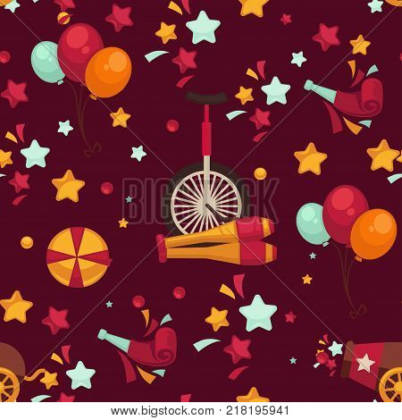 Circus themed bright seamless pattern. Special equipment for show tricks and performers in scenic costumes surrounded with stars and balloons vector illustrations inside endless texture.