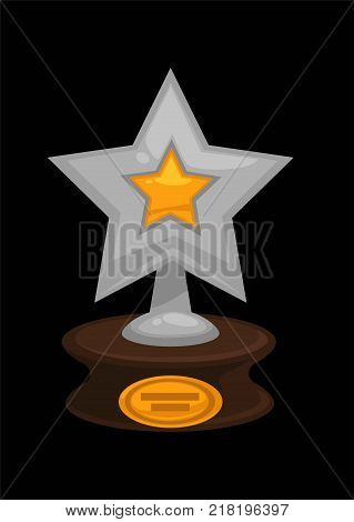 Award golden or silver star icon. Vector flat isolated metallic symbol of winner trophy for cinema actor or best music musician nomination with blank nameplate