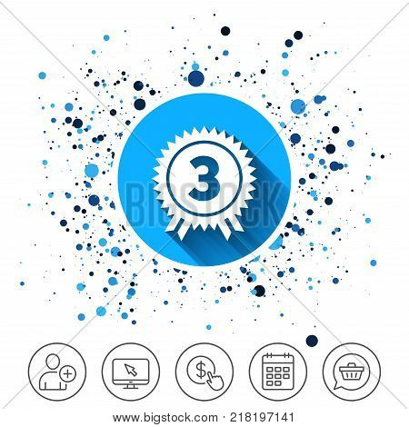 Button on circles background. Third place award sign icon. Prize for winner symbol. Calendar line icon. And more line signs. Random circles. Editable stroke. Vector