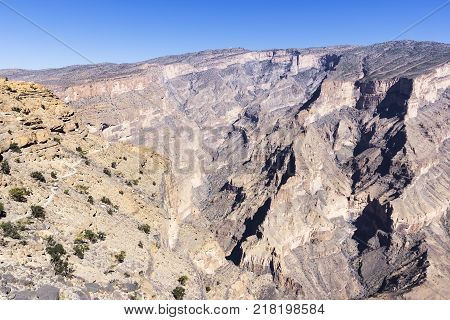 Hiking trail in Jebel Shams - Sultanate of Oman