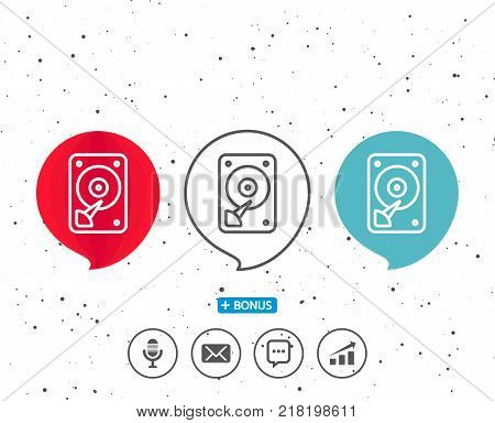 Speech bubbles with symbol. HDD icon. Hard disk storage sign. Hard drive memory symbol. Bonus with different classic signs. Random circles background. Vector