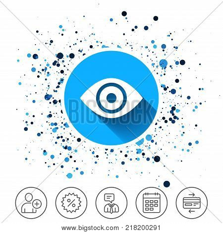 Button on circles background. Eye sign icon. Publish content button. Visibility. Calendar line icon. And more line signs. Random circles. Editable stroke. Vector