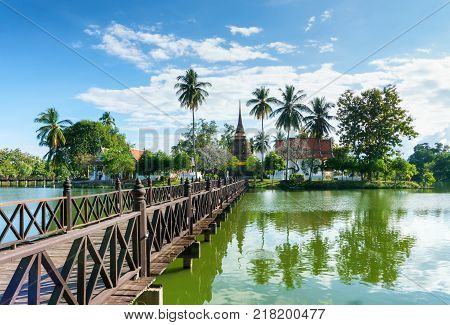 Wat Traphang Thong Temple in the precinct of Sukhothai Historical Park Thailand