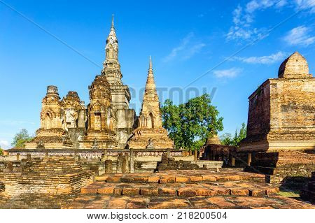 Wat Mahathat Temple in the precinct of Sukhothai Historical Park Thailand