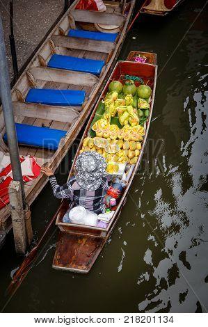Damnoen Saduak floating market in Ratchaburi near Bangkok Thailand