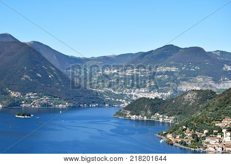 Lake Iseo and a glimpse of Montisola  Brescia   Lombardy  Italy