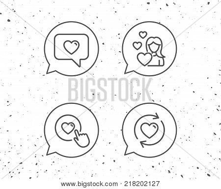 Speech bubbles with signs. Love chat, Refresh relationships and Romantic Heart line icons. Valentines day and Heart in speech bubble signs. Grunge background. Editable stroke. Vector