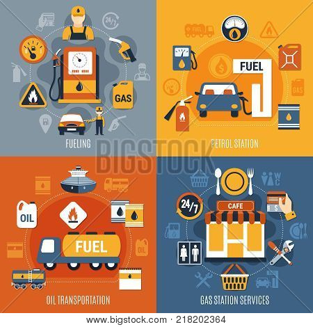 Four squares fuel pump concept set with fueling petrol station oil transportation and gas station services descriptions vector illustration