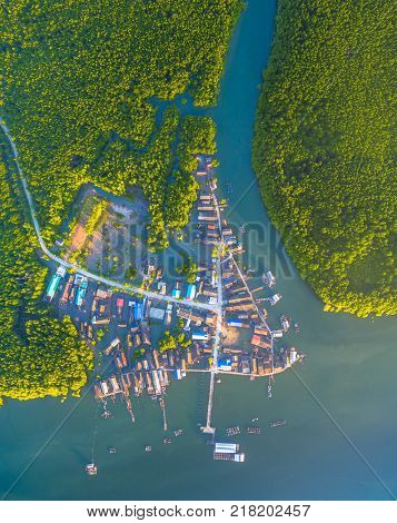 Bansamchong fishing village in Phang Nga province. the fishing village is inside the pine forest and mangrove forest. in front of Bansamchong fishing village have pier for transport to Andaman sea.
