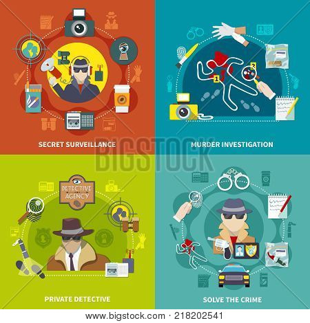Four squares of detective concept set with solve the crime private detective secret surveillance and murder investigation descriptions vector illustration