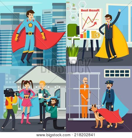 Superhero orthogonal concept with man in costume on city background, business person, policeman, actress isolated vector illustration