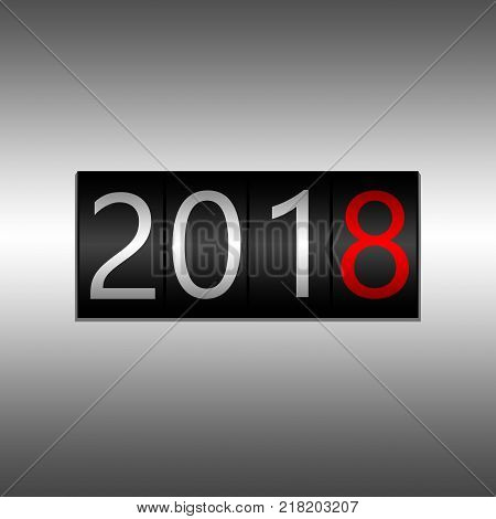 2018. New Year Black Odometer On Black Background - New Year 2018 Design, Odometer Style With White
