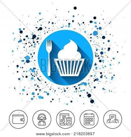 Button on circles background. Eat sign icon. Dessert trident fork with muffin. Cutlery symbol. Calendar line icon. And more line signs. Random circles. Editable stroke. Vector