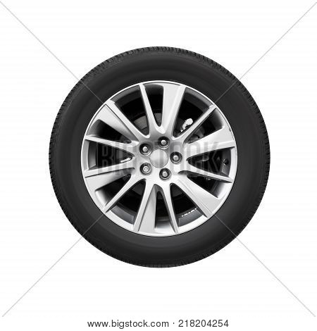 Modern car wheel on light alloy disc front view isolated on white background