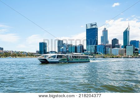 A TransPerth ferry carries passengers across the Swan River from Elizabeth Quay to South Perth, Western Australia. Photographed: December 12th, 2017.
