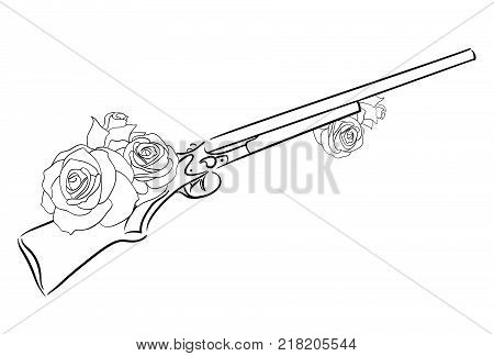 Linear illustration of an old rifle with roses. Vector element for your design. Coloring for Adult