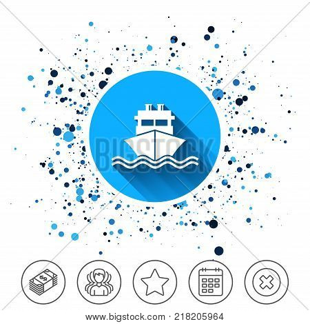 Button on circles background. Ship or boat sign icon. Shipping delivery symbol. With chimneys or pipes. Calendar line icon. And more line signs. Random circles. Editable stroke. Vector