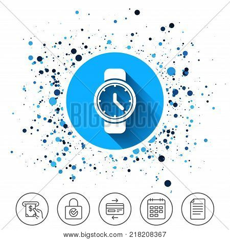 Button on circles background. Wrist Watch sign icon. Mechanical clock symbol. Men hand watch. Calendar line icon. And more line signs. Random circles. Editable stroke. Vector