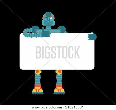 Robot holding banner blank. Cyborg and white blank. Robotic man thumb up and winks joyful emotion. place for text. Vector illustration