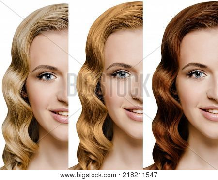 set, collage, woman with different different hair color. Blonde, red, brown-haired