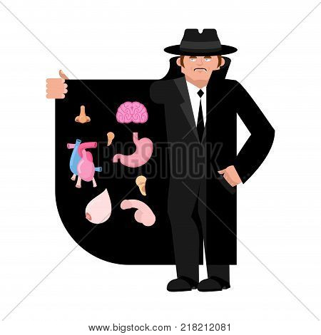 Smuggler selling organs. Brains and heart. Stomach nose and ear. Cloak-seller isolated. Dealer in hat and coat . Bootlegger. Seller prohibited goods of black marke. Legitimate trade. Vector illustration
