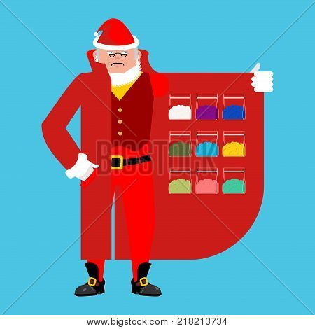 Santa Claus sells drugs. Cocaine and marijuana. Cloak-seller isolated. Dealer in hat and coat . Bootlegger. Seller prohibited goods of black marke. Legitimate trade. Vector illustration poster