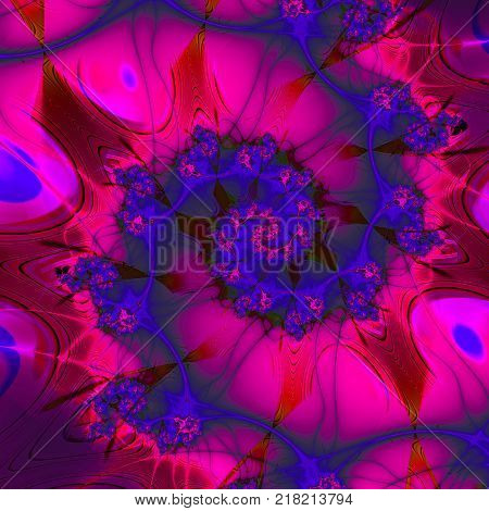 Colorful symphony. Spiral of space. 3D surreal illustration. Sacred geometry. Mysterious psychedelic relaxation pattern. Fractal abstract texture. Digital artwork graphic astrology magic