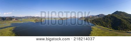 Aerial panorama of Skadar Lake in Montenegro at summer.
