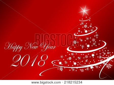 Happy new year 2018 illustration with Christmas Tree on red background