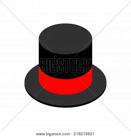Hat cylinder isometric style isolated. Cap aristocrat. Vector illustration