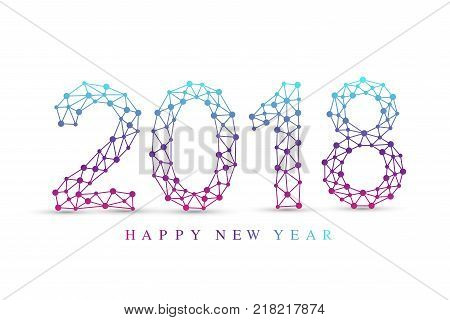 Text design Christmas and Happy new year 2018. Graphic background communication. Connected lines with dots. Design element for presentations, postcards, flyers, leaflets and posters, illustration
