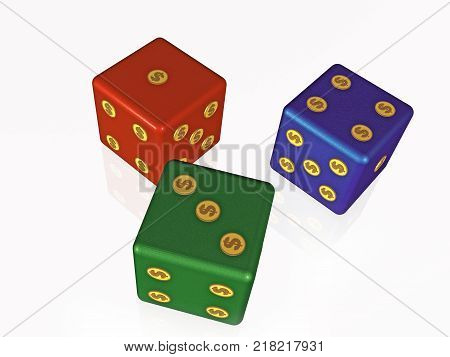 Red green and blue dice on white background 3D illustration.